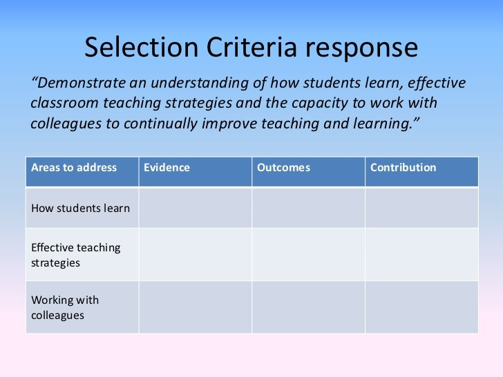 Selection Criteria Responses