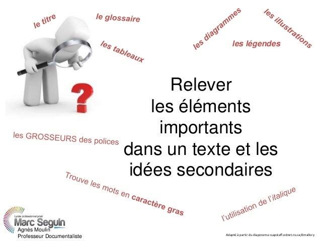 Relever les éléments importants dans un texte et les idées secondaires les légendes Agnès Moulin Professeur Documentaliste...