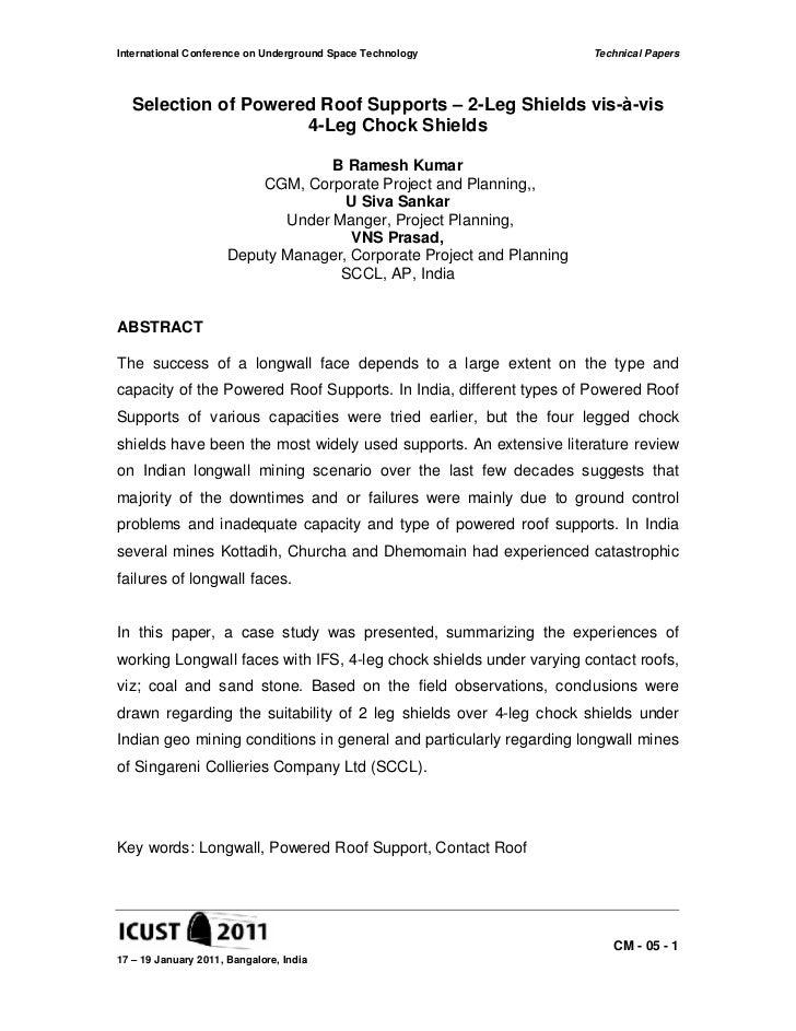 International Conference on Underground Space Technology              Technical Papers  Selection of Powered Roof Supports...