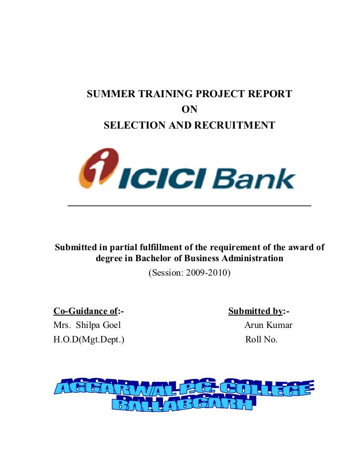 Selection Recruitment Icici