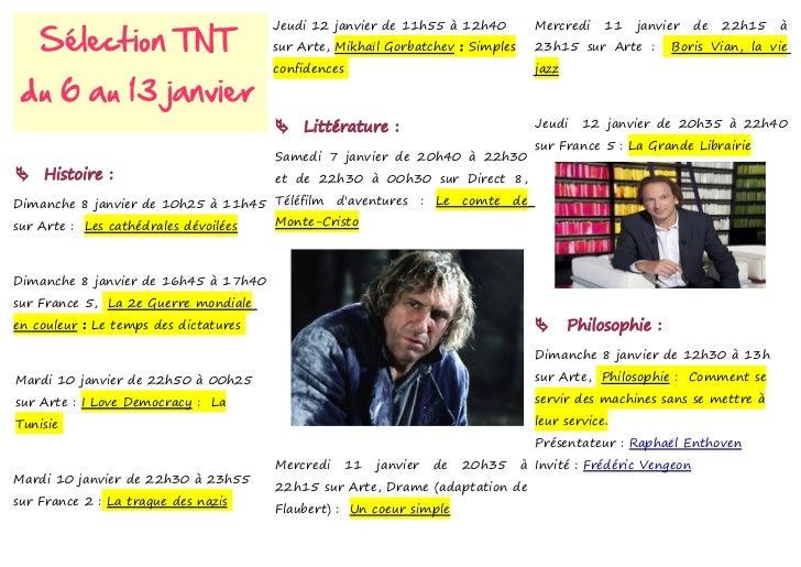 Sélection TNT                                       Jeudi 12 janvier de 11h55 à 12h40              Mercredi    11   janvie...