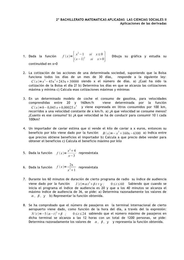 2º BACHILLERATO MATEMATICAS APLICADAS LAS CIENCIAS SOCIALES II                                                         Apl...