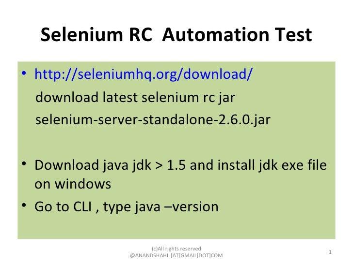 Selenium RC Automation testing