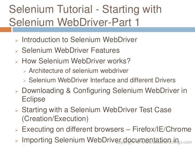 Selenium Tutorial Starting with Selenium WebDriver Part 1