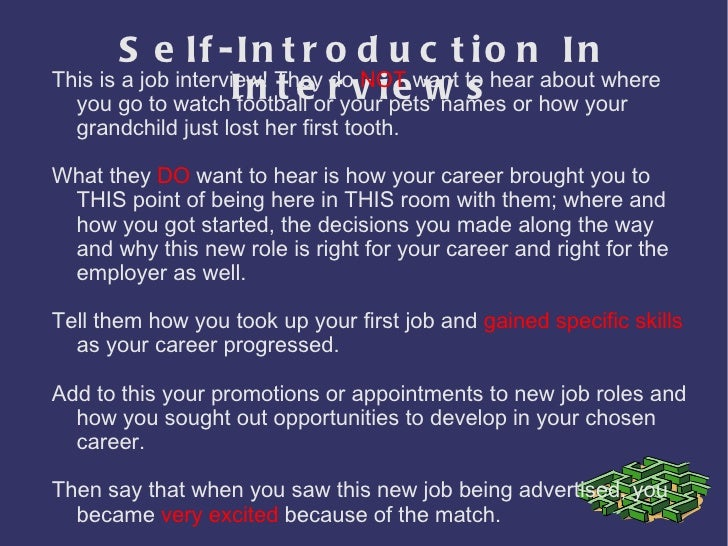 self introduction job interview pdf