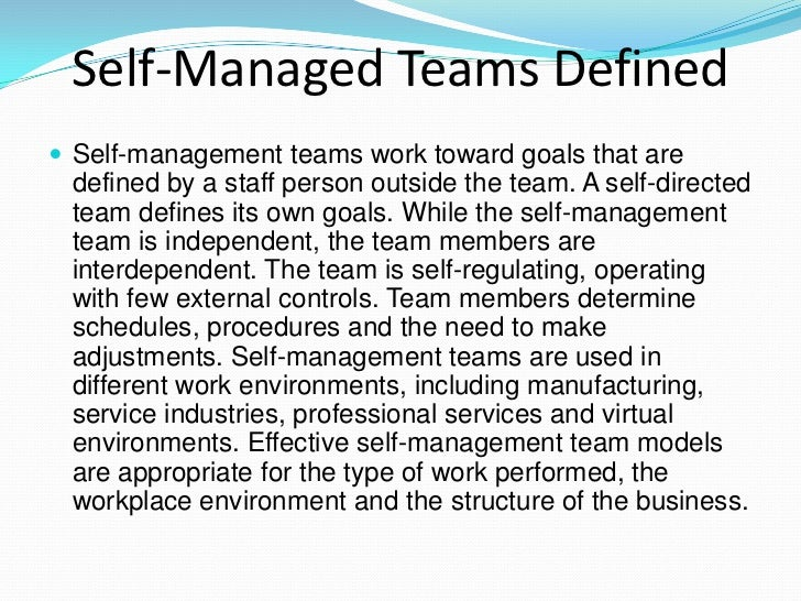 self directed work team sdwt advantages and disadvantages Self managing teams 1 a self-directed team defines its own goals comparisons comparison between conventional teams and self-managing work teams traditional/conventional teams self managing work teams task domain production tasks only whole process.