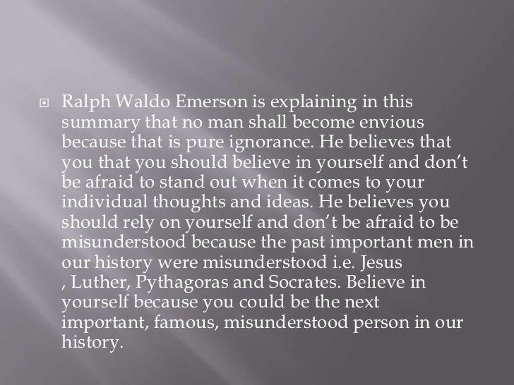 ralph waldo emerson essay self reliance summary