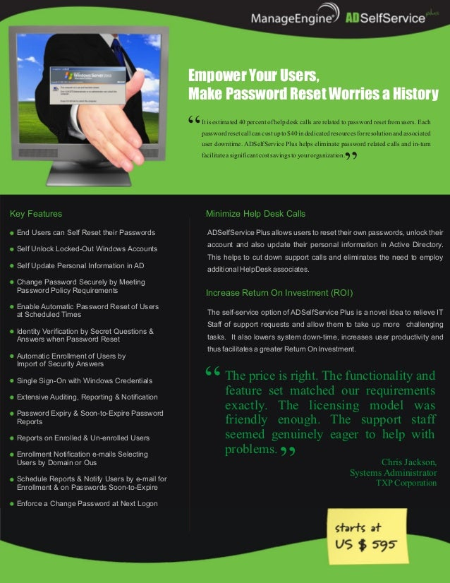 Empower Your Users,                                                 Make Password Reset Worries a History                 ...