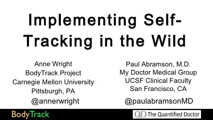 Self Tracking Medicine 2.0 Presentation, 9/18/11