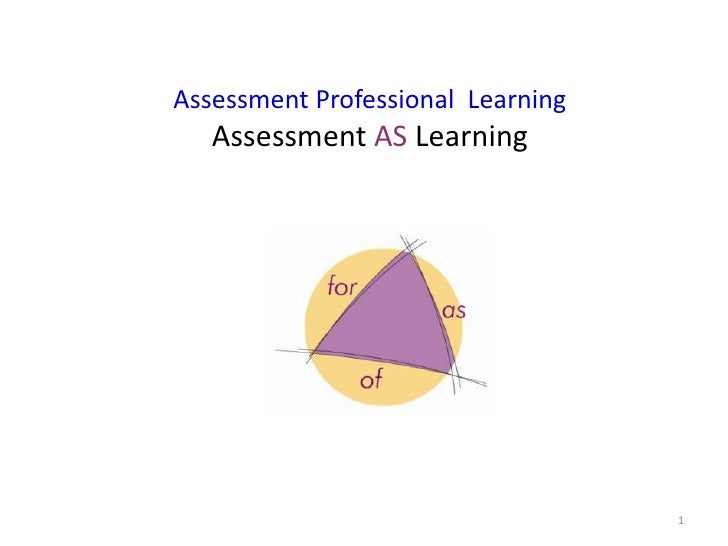 Assessment Professional Learning   Assessment AS Learning                                   1