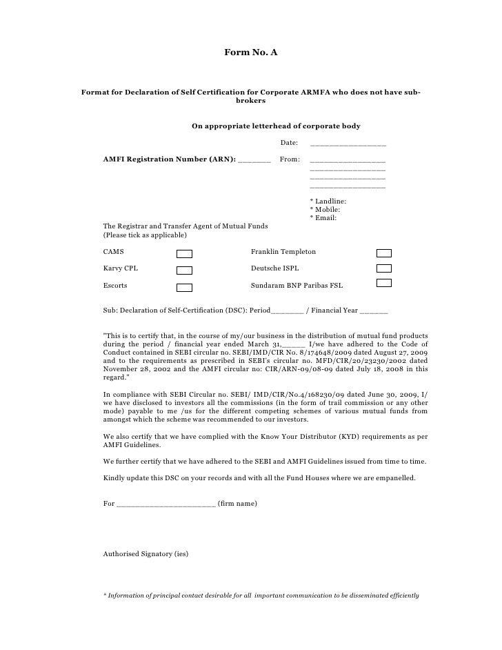 Self Declaration Form 2010 2011