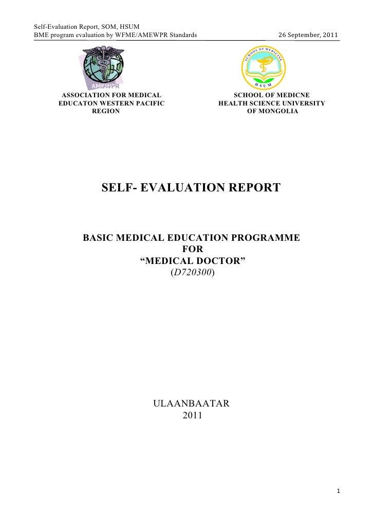 Self-Evaluation Report, SOM, HSUMBME program evaluation by WFME/AMEWPR Standards                 26 September, 2011       ...
