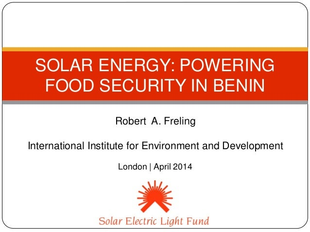 Solar energy: Powering food security in Benin