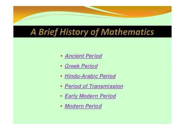 research paper on history of mathematics Lists of mathematics topics many mathematics journals ask authors of research papers and expository articles to list subject codes from the history of science.