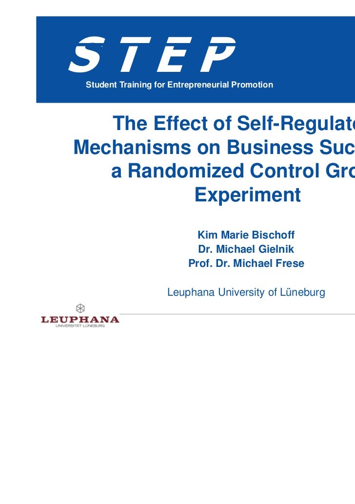 The effects of self-regulatory mechanisms on business success in a randomized control group experiment