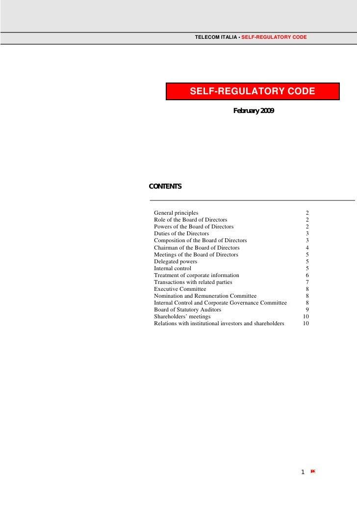 TELECOM ITALIA • SELF-REGULATORY CODE               SELF-REGULATORY CODE                                 February 2009CONT...