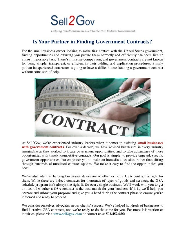 Is Your Partner in Finding Government Contracts? For the small business owner looking to make first contact with the Unite...