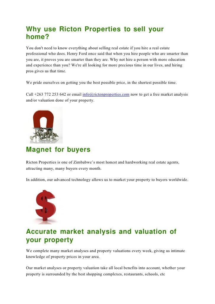 Sellers advice - Why use ricton properties to sell your property