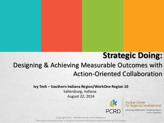 Strategic Doing:  Designing & Achieving Measurable Outcomes with  Action-Oriented Collaboration  Ivy Tech – Southern India...