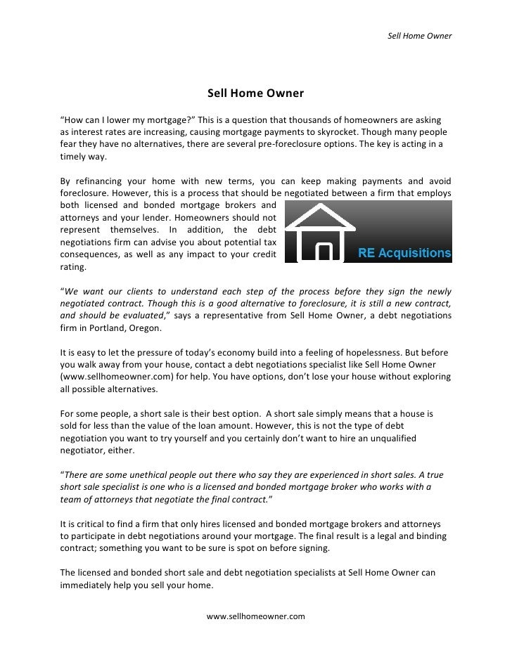 """Sell Home Owner                                          Sell Home Owner """"How can I lower my mortgage?"""" This is a question..."""