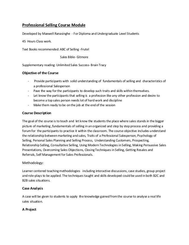 Professional Selling Syllubus ( course module)