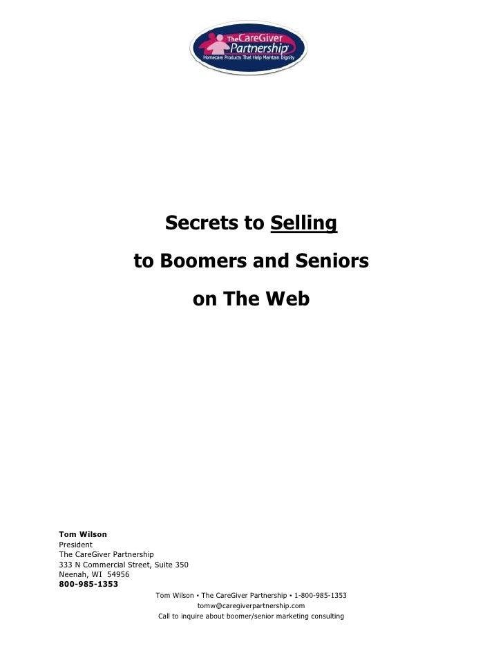 Selling to seniors & web design for seniors