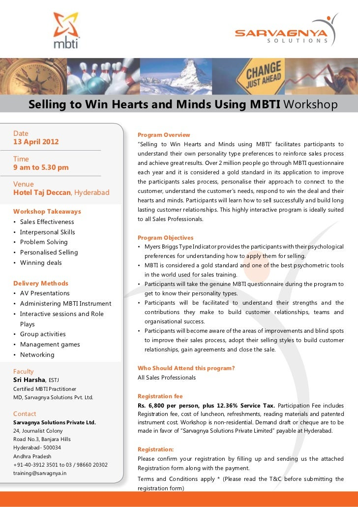 Selling to Win Hearts and Minds Using MBTI WorkshopDate                                   Program Overview13 April 2012   ...