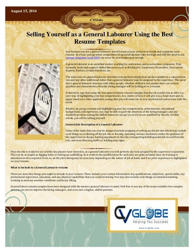 Selling Yourself as a General Labourer Using the Best Resume Templates