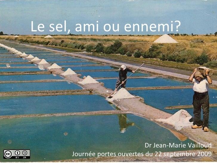 Le sel, ami ou ennemi? Dr Jean-Marie Vailloud Journée portes ouvertes du 22 septembre 2009