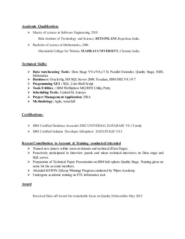 Qualitystage resume