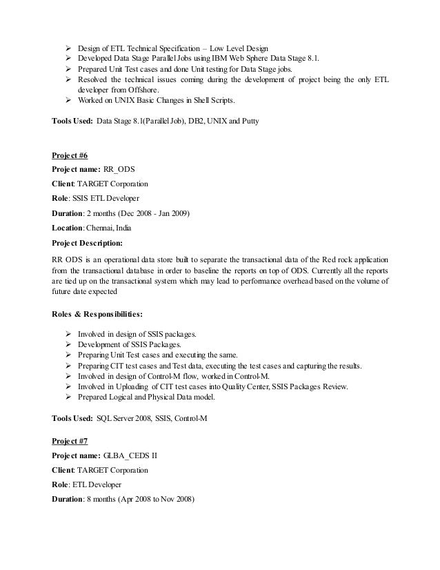 Ssis etl developer resume