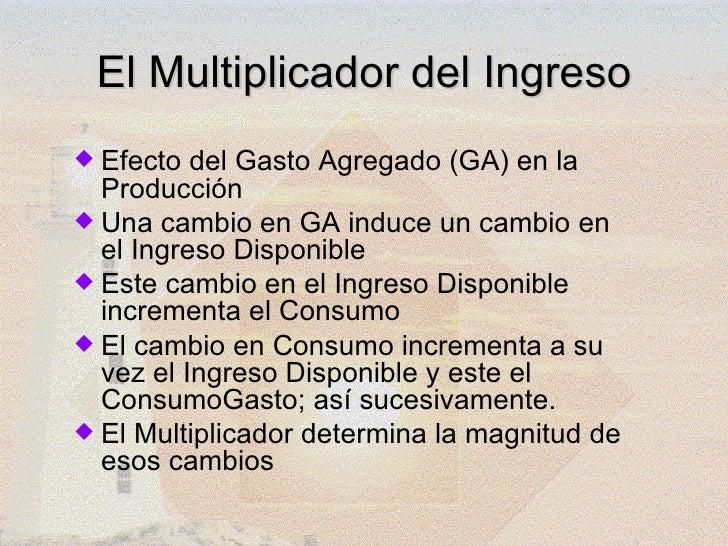 El Multiplicador del Ingreso Efecto  del Gasto Agregado (GA) en la  Producción Una cambio en GA induce un cambio en  el ...