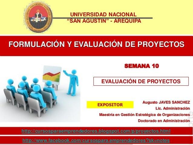 Sem 10 formulación y evaluación de proyectos evaluacion financiera