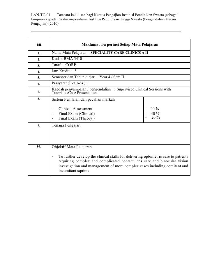 LAN-TC-01       Tatacara kelulusan bagi Kursus Pengajian Institusi Pendidikan Swasta (sebagai lampiran kepada Peraturan-pe...