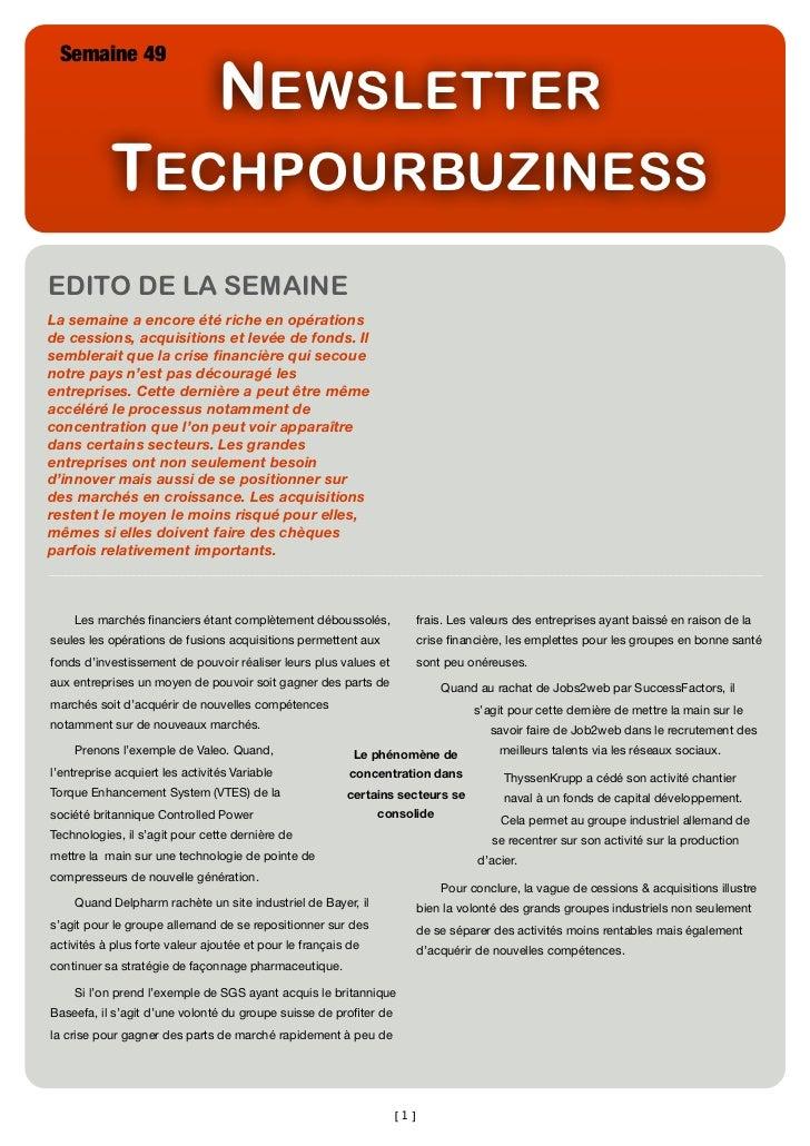 Newsletter Semaine49