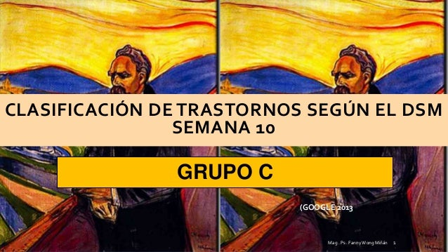 CLASIFICACIÓN DE TRASTORNOS SEGÚN EL DSMSEMANA 10GRUPO CMag . Ps . Fanny Wong Miñán 1(GOOGLE 2013