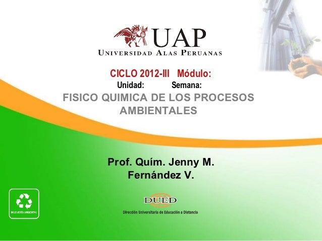 CICLO 2012-III Módulo:        Unidad:     Semana:FISICO QUIMICA DE LOS PROCESOS          AMBIENTALES       Prof. Quím. Jen...