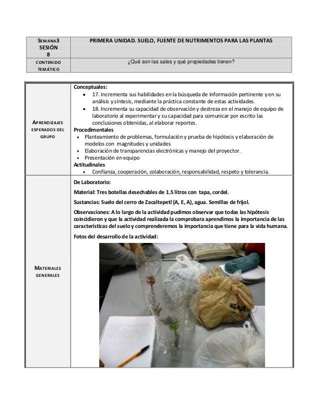 SEMANA3 SESIÓN 8  PRIMERA UNIDAD. SUELO, FUENTE DE NUTRIMENTOS PARA LAS PLANTAS  CONTENIDO TEMÁTICO  ¿Qué son las sales y ...