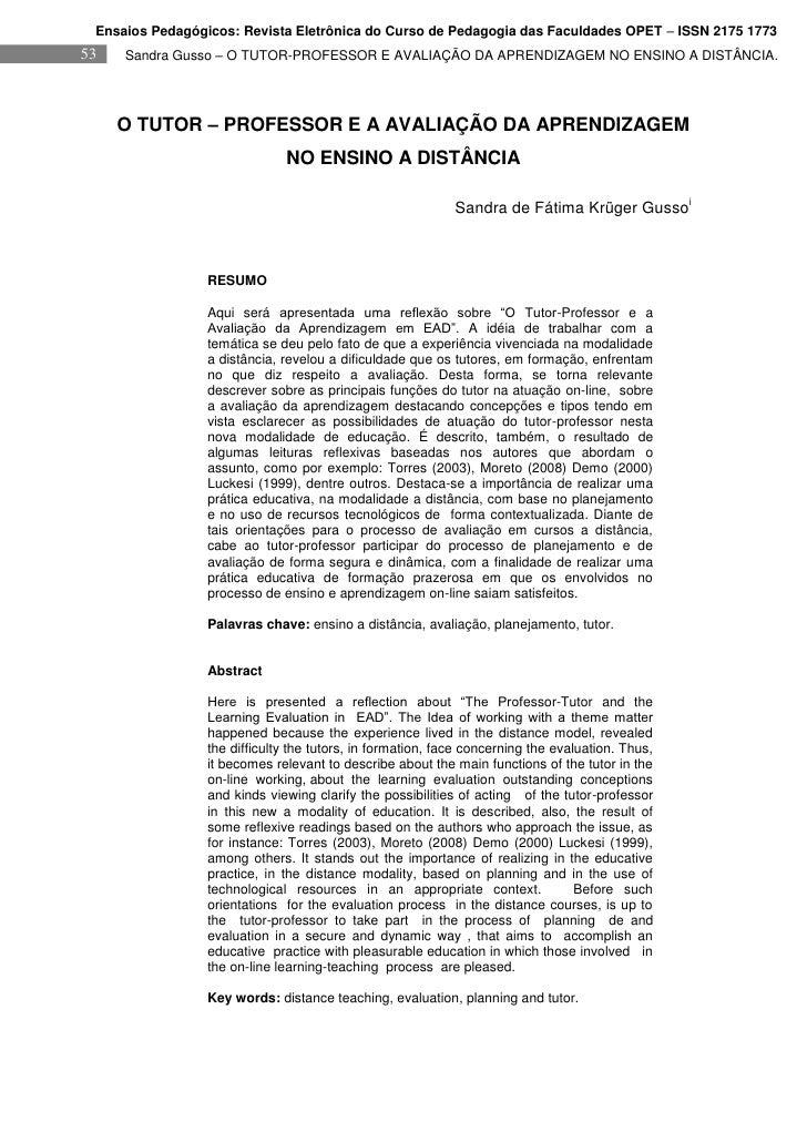 Ensaios Pedagógicos: Revista Eletrônica do Curso de Pedagogia das Faculdades OPET – ISSN 2175 1773 53   Sandra Gusso – O T...