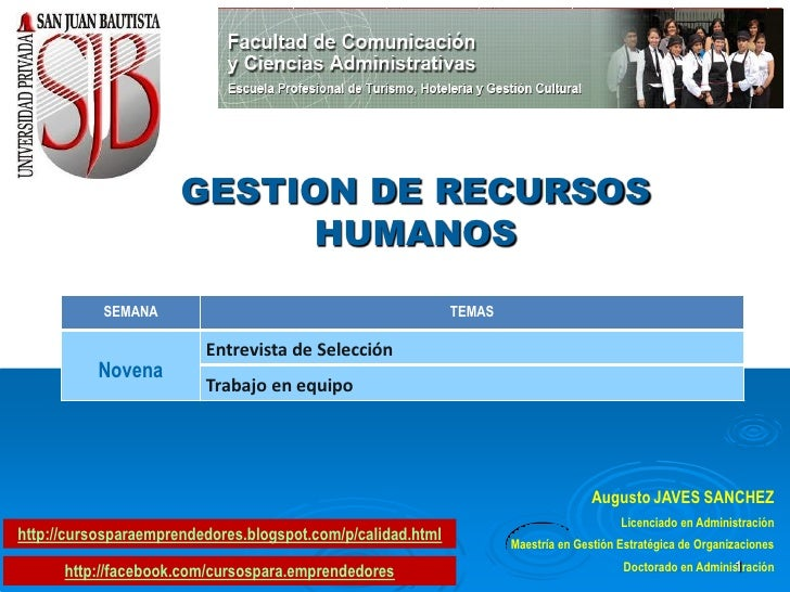 GESTION DE RECURSOS                            HUMANOS           SEMANA                                            TEMAS  ...