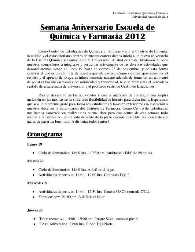 Semana aniversario escuela de química y farmacia 2012