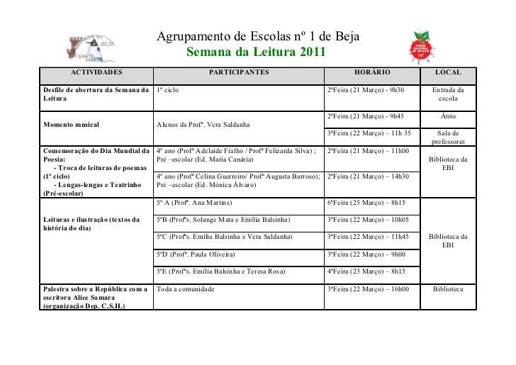 Agrupamento de Escolas nº 1 de Beja                                        Semana da Leitura 2011         ACTIVIDADES     ...