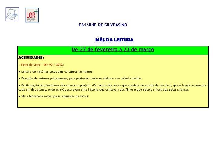Mês da Leitura EB1/JI Gilvrasino2012