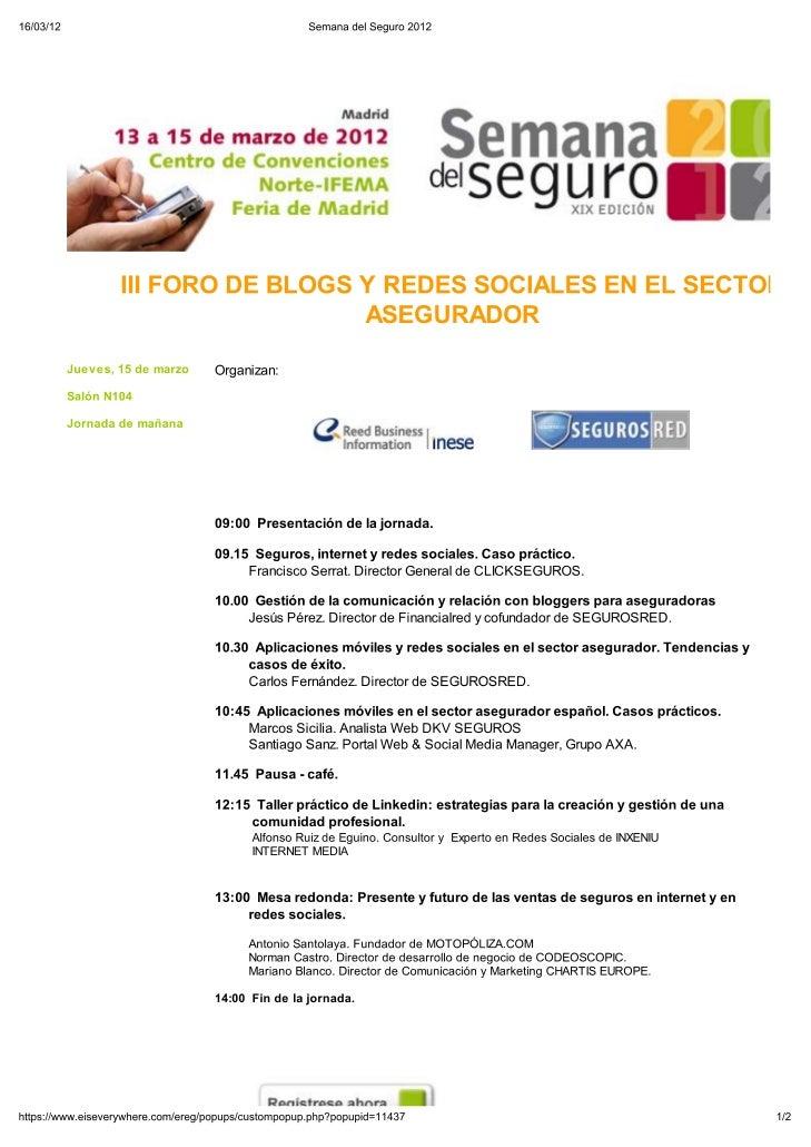 Semana del seguro 2012 - iii foro de blogs y redes sociales en el sector asegurador (programa)