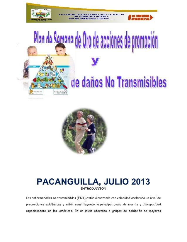 PACANGUILLA, JULIO 2013 INTRODUCCION Las enfermedades no transmisibles (ENT) están alcanzando con velocidad acelerada un n...