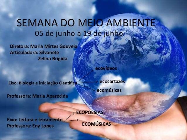 SEMANA DO MEIO AMBIENTE 05 de junho a 19 de junho Eixo: Biologia e Iniciação Cientifica ecovídeos ecocartazes ecomúsicas E...
