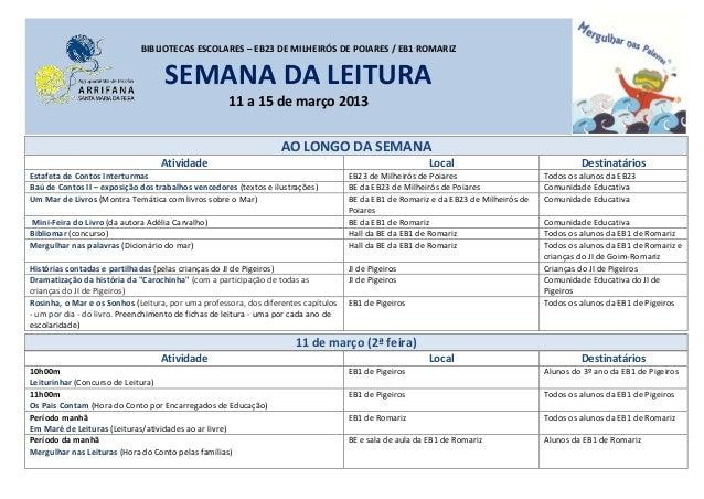 BIBLIOTECAS ESCOLARES – EB23 DE MILHEIRÓS DE POIARES / EB1 ROMARIZ                                   SEMANA DA LEITURA    ...