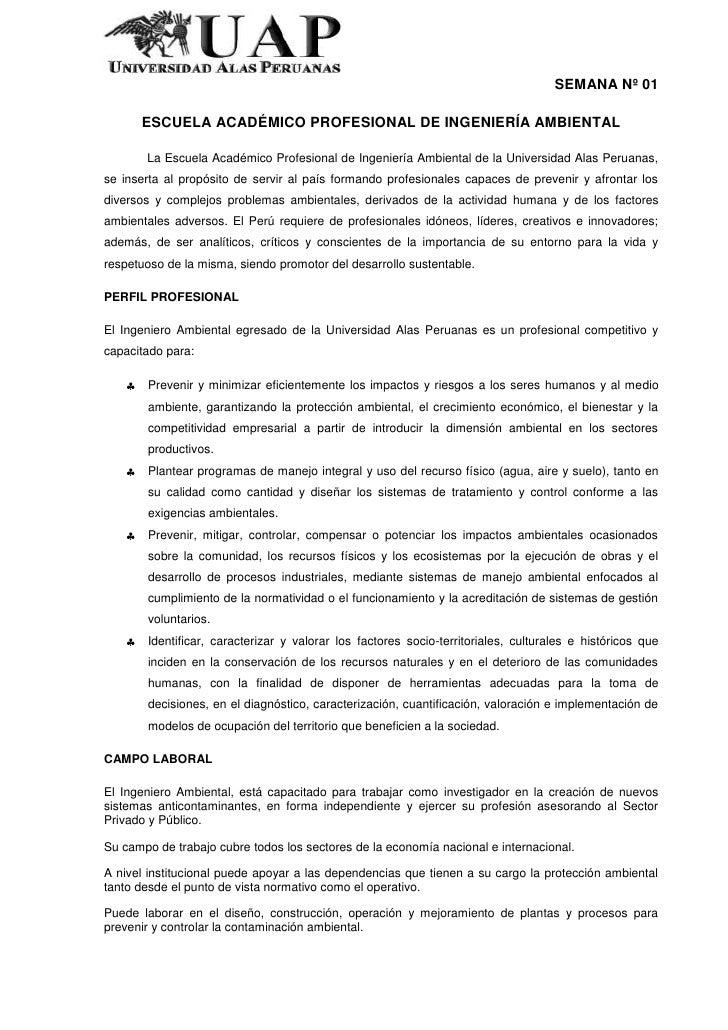 SEMANA Nº 01      ESCUELA ACADÉMICO PROFESIONAL DE INGENIERÍA AMBIENTAL       La Escuela Académico Profesional de Ingenier...