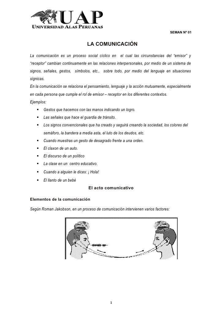 SEMAN Nº 01                                     LA COMUNICACIÓNLa comunicación es un proceso social cíclico en el cual las...