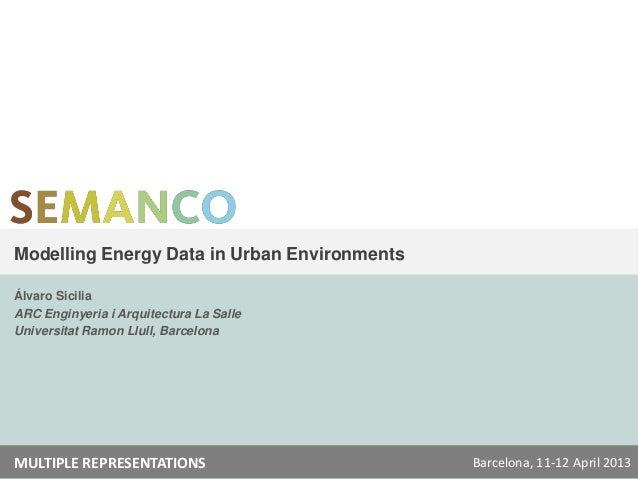 Modelling Energy Data in Urban EnvironmentsÁlvaro SiciliaARC Enginyeria i Arquitectura La SalleUniversitat Ramon Llull, Ba...